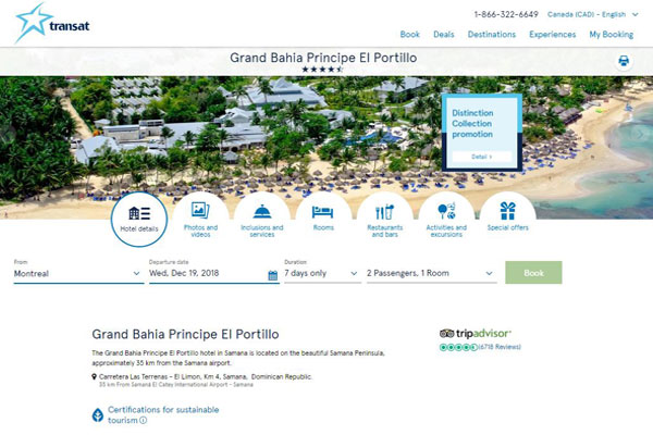 New-Look Hotel Pages on Transat.com