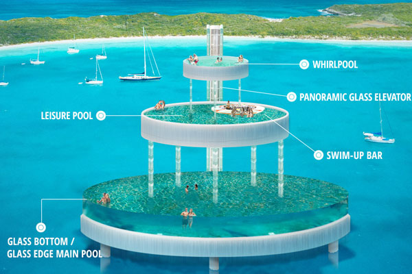 Sandals Unveils Three-Tier, Over-Water Glass Bottom Pool