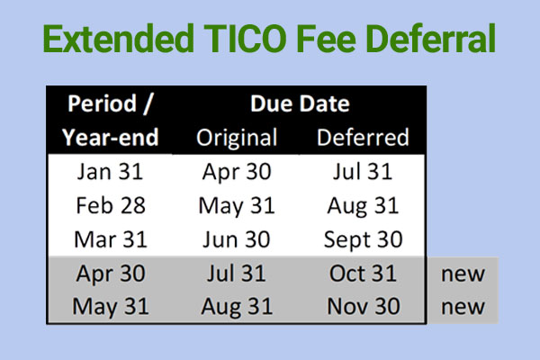 TICO Extends Fee Deferral