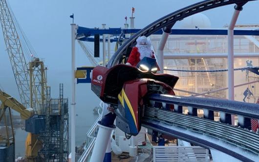 Santa Rides The Coaster On A Cruise Ship